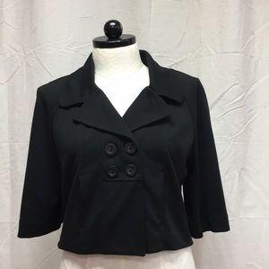 XL Black Crop Top Cover Up Cardigan cape  Elle EUC